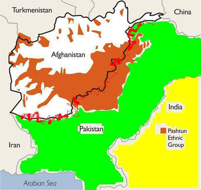Pashtun areas in Pakistan and Afghanistan Afghania bound